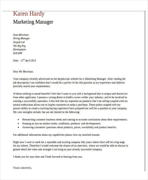 Application Letter As Marketing Manager