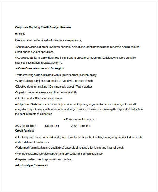 corporate banking credit analyst resume3