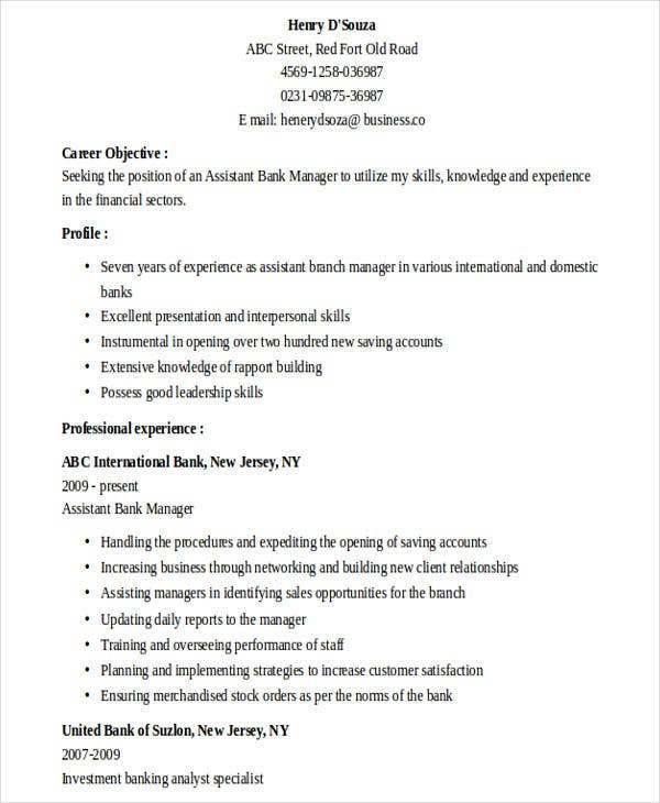 banking assistant manager resume4