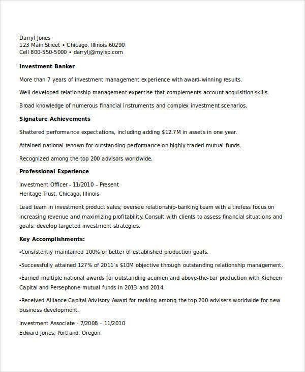 investment banking resume example monstercom