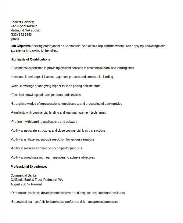 commercial banking resume - Sample Banking Resume