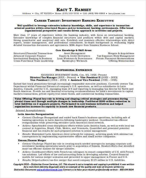 investment banking executive resume2