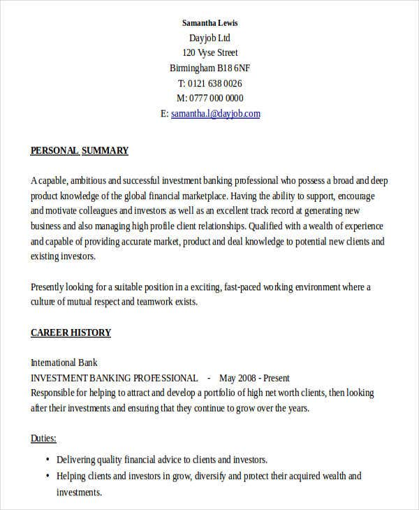 stunning investment banking profile resume gallery simple resume