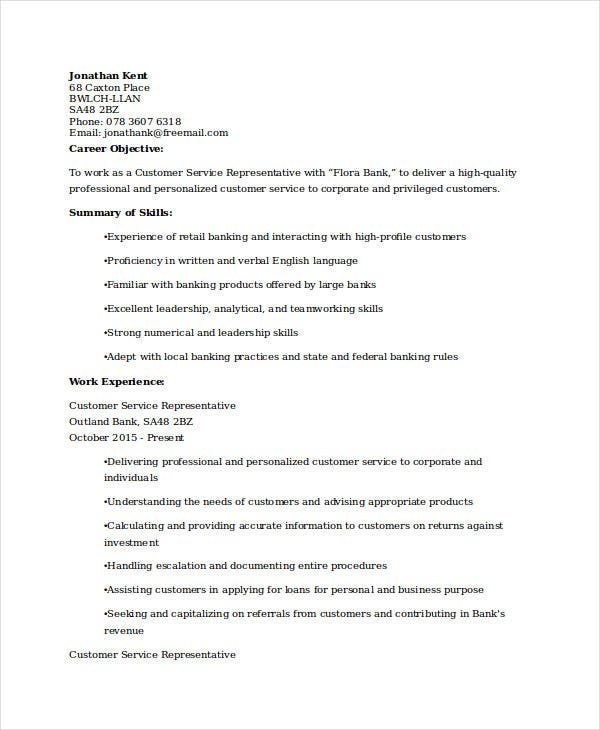 retail banking customer service resume - Bank Resume Sample