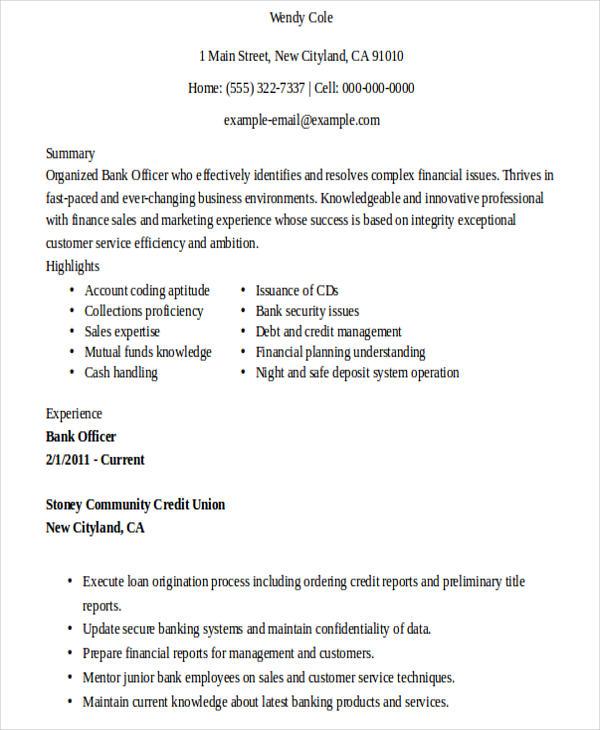 25 banking resume examples free premium templates
