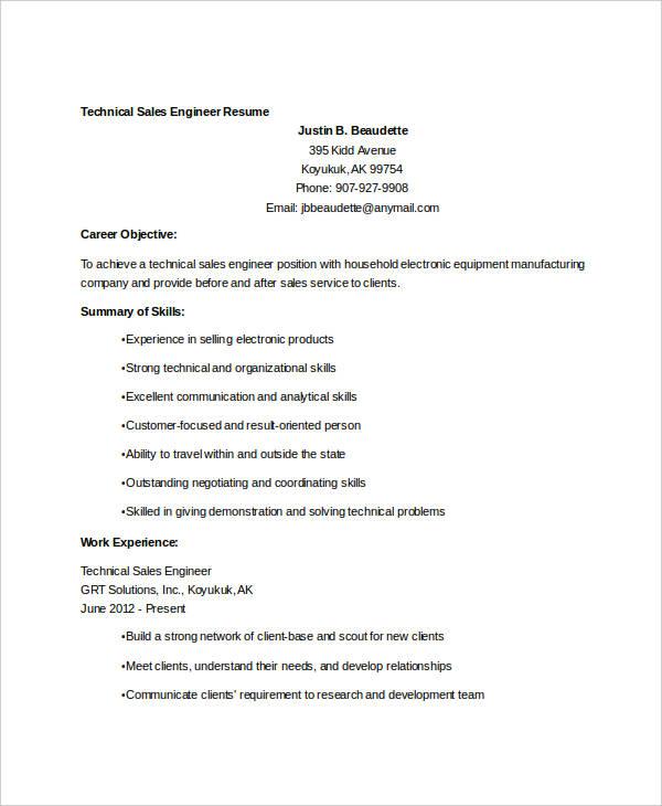 technical sales engineer resume2