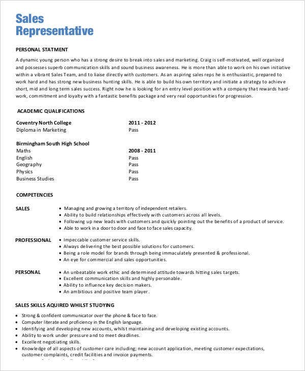 entry level sales resume
