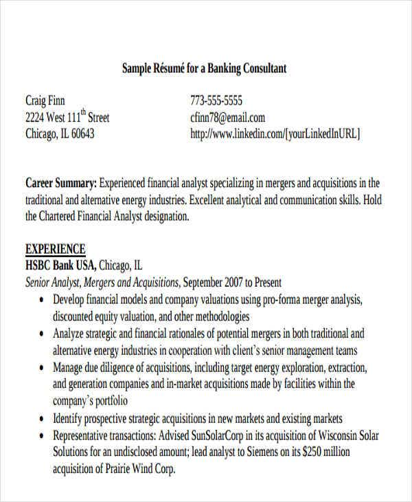 sample banking consultant resume