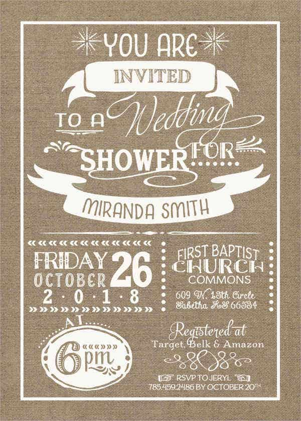 Burlap Wedding Shower Invitation