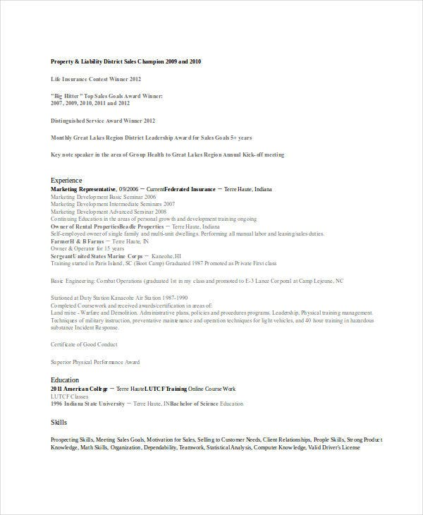 insurance marketing representative resume