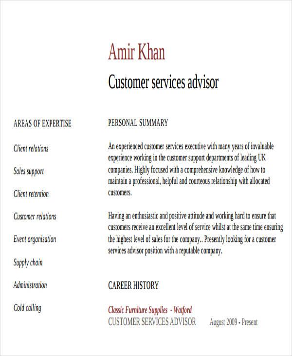 banking customer service adviser resume2