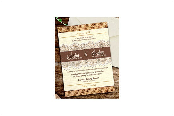 Personalized Burlap Wedding Invitation