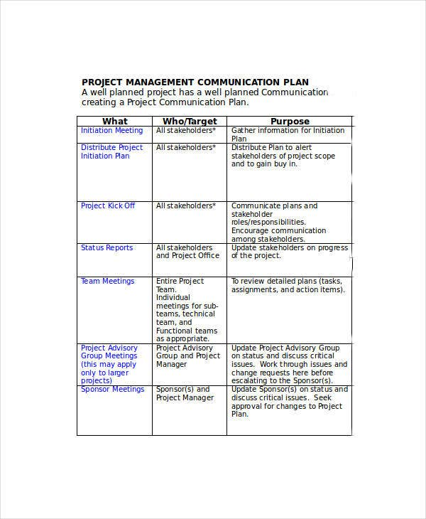 Free communication plan templates 37 free word pdf for Project management communications plan template