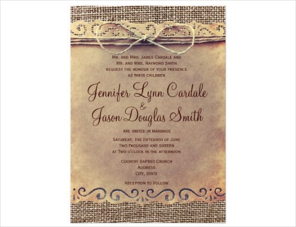Burlap Country Wedding Invitation