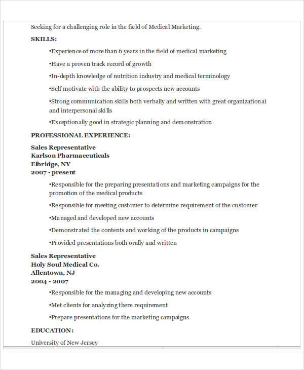 medical marketing representative resume1