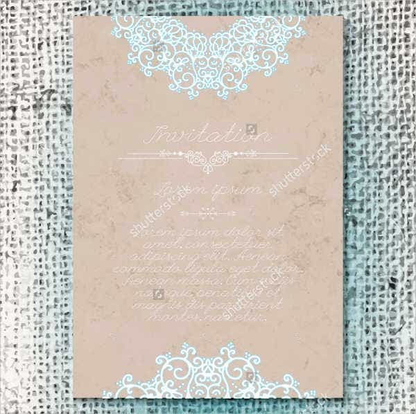 Burlap Floral Wedding Invitation