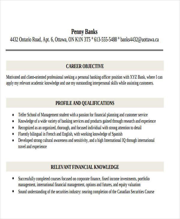 personal banking representative resume1