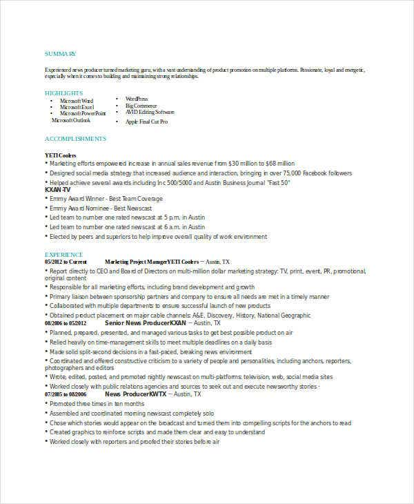 marketing project manager resume1