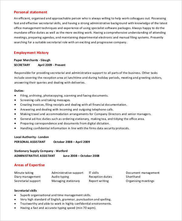 administrative secretary work resume3
