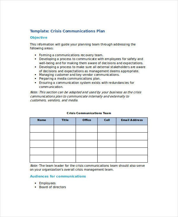 Free communication plan templates 37 free word pdf for Mental health crisis management plan template