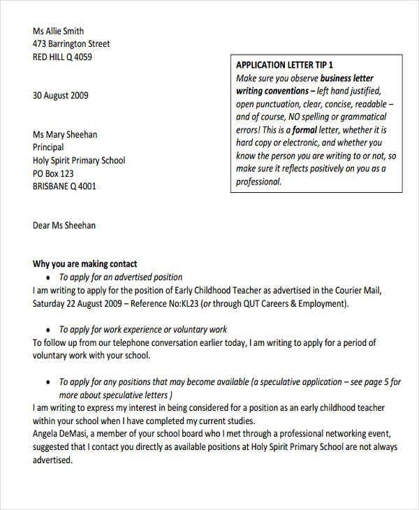letter format for job application of a teacher best of