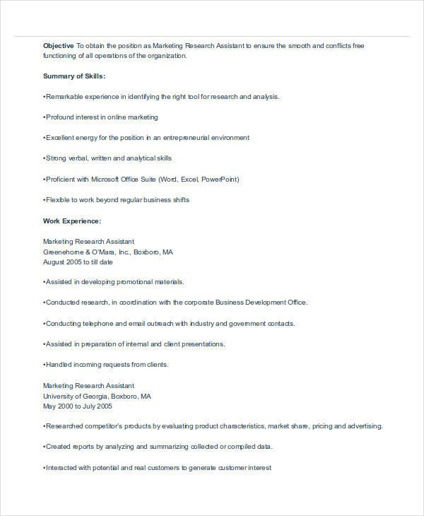 marketing research assistant resume1