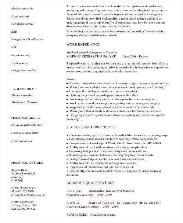 marketing research analyst resume1