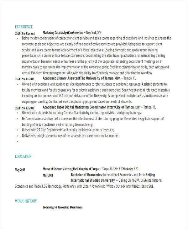 marketing data analyst resume1