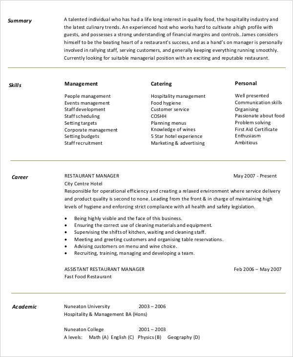 restaurant manager work resume