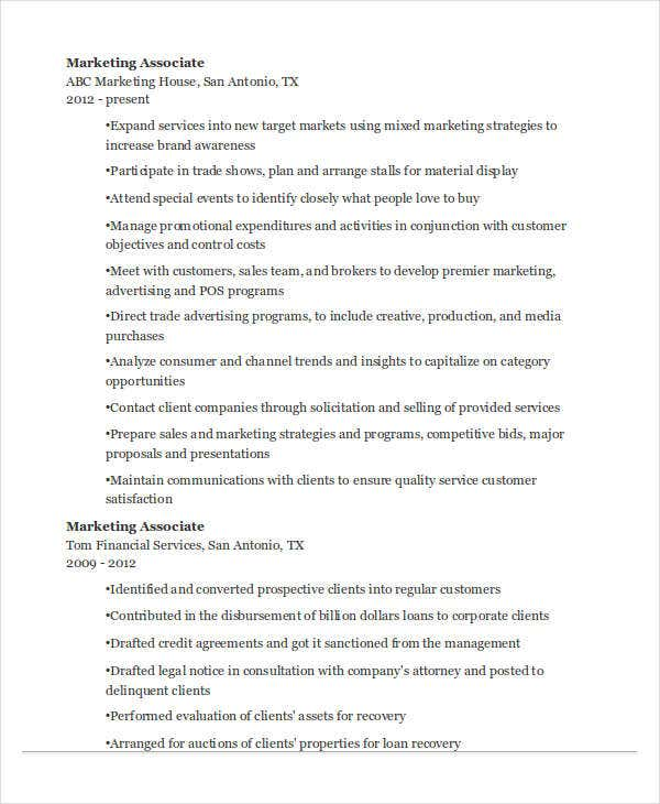 marketing sales associate resume1
