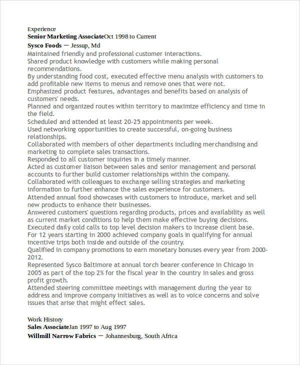 senior marketing associate resume