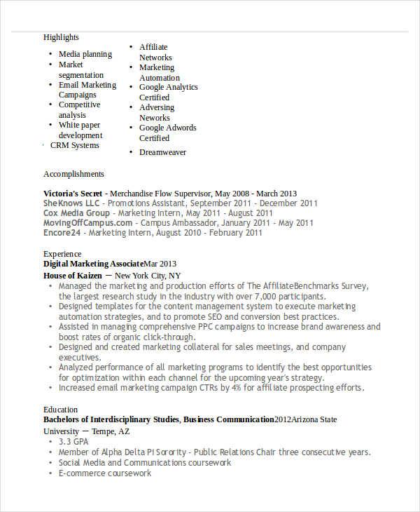 digital marketing associate resume