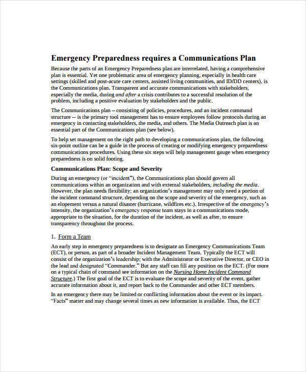 corporate emergency communication plan