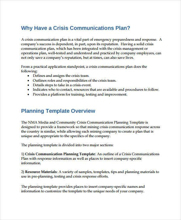 corporate crisis communication plan