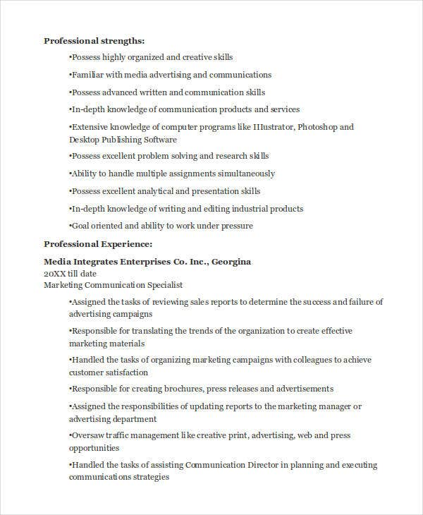 Marketing Communications Specialist  Communications Specialist Resume