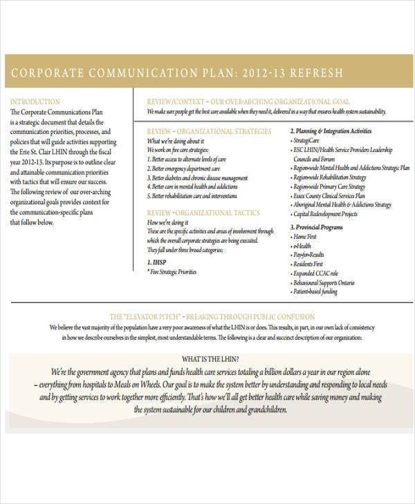 corporate communication business plan
