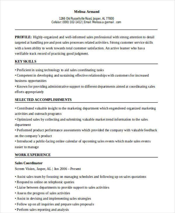 sales support coordinator resume2