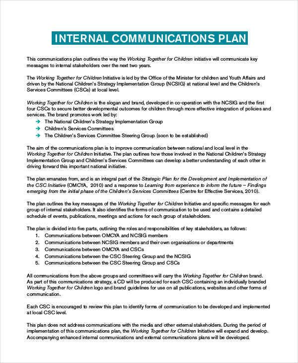 sample internal communication plan
