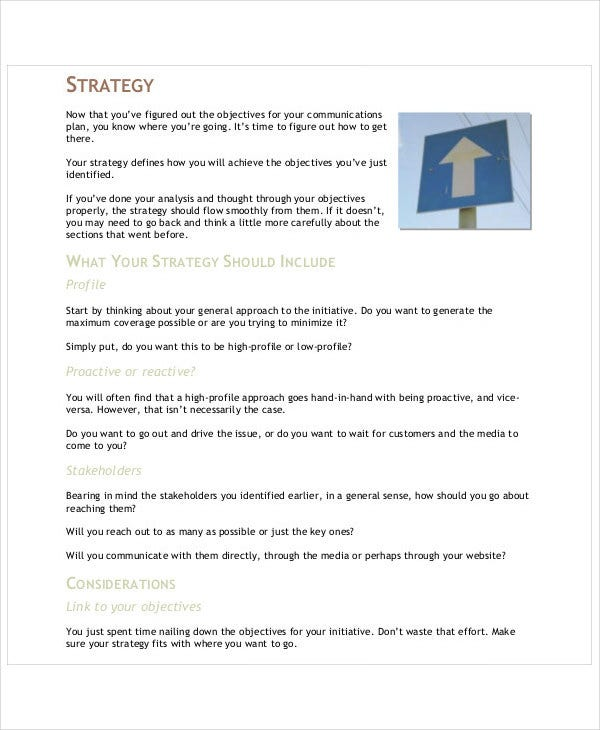 corporate communication plan sample