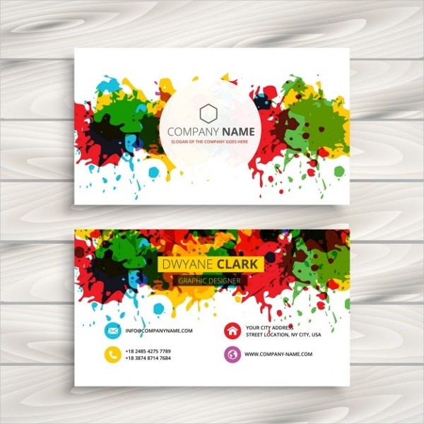 artistic business card with splashes