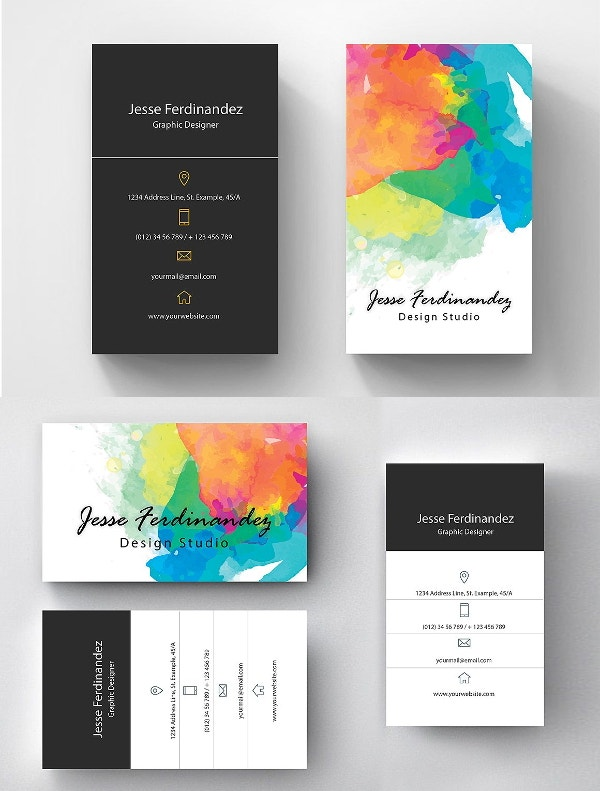 15 artists business card templates free premium templates watercolor artistic business card template accmission Images