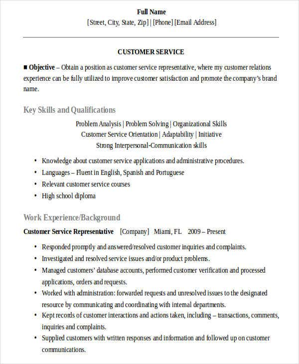 sales customer service resume