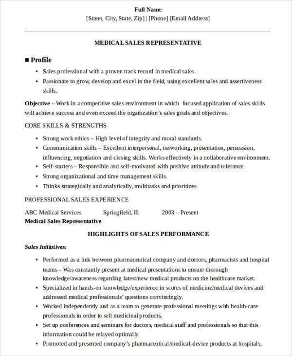 medical sales representative resume9
