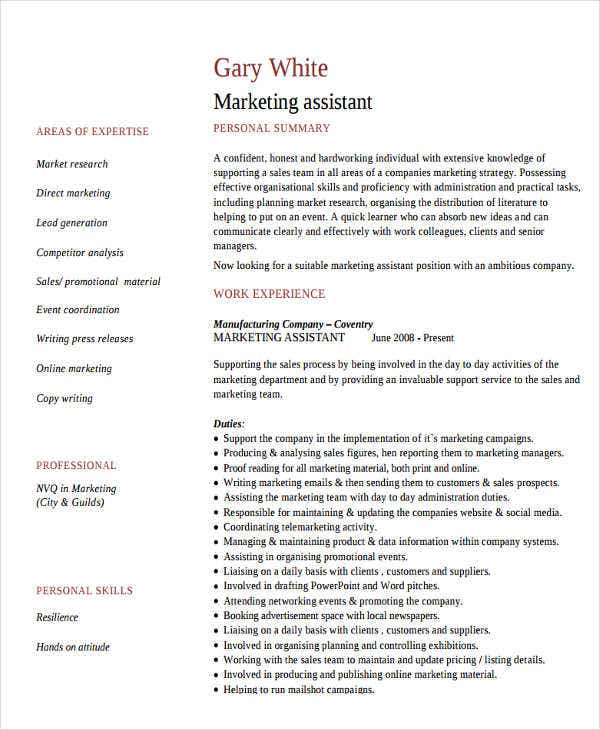 assistant marketing manager resume3