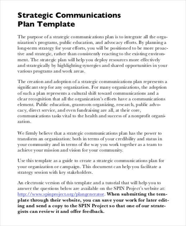 it strategic communications plan