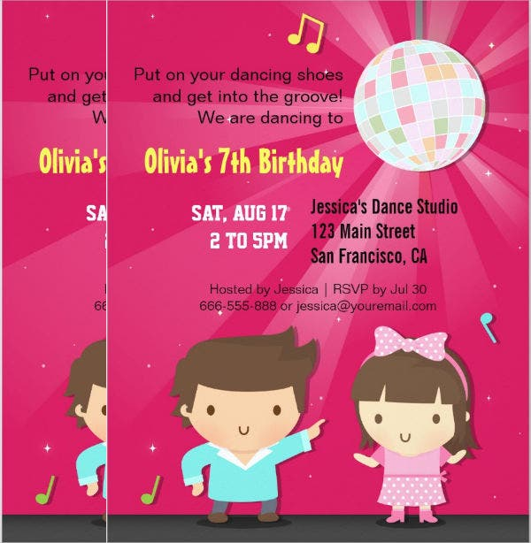 8  kids party invitations