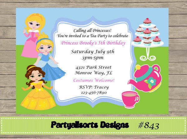 7 Kids Party Invitations JPG PSD Vector EPS AI Illustrator – Kids Tea Party Invitations