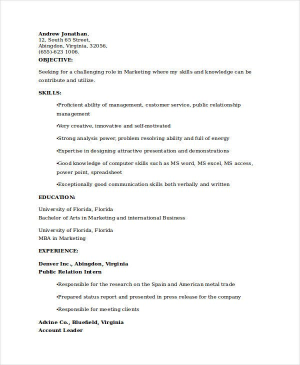 college student resume - Marketing Student Resume