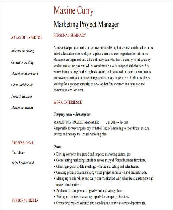 professional marketing resume free premium templates - Professional Marketing Resume