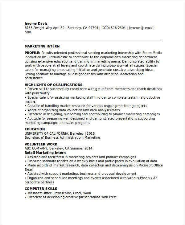 marketing student internship resume1